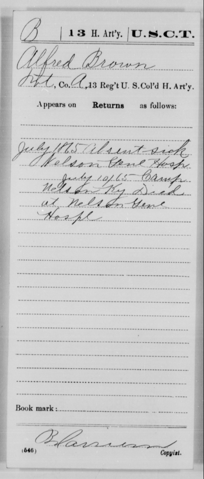 Brown, Alfred - Age [Blank], Year: 1865 - 13th US Colored Heavy Artillery, Misc Cards - United States Colored Troops: Artillery Organizations