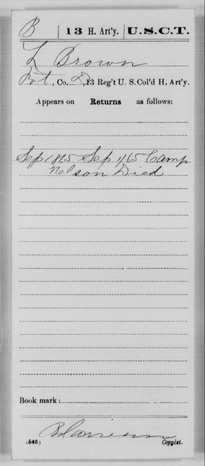 Brown, L - Age [Blank], Year: 1865 - 13th US Colored Heavy Artillery, Misc Cards - United States Colored Troops: Artillery Organizations