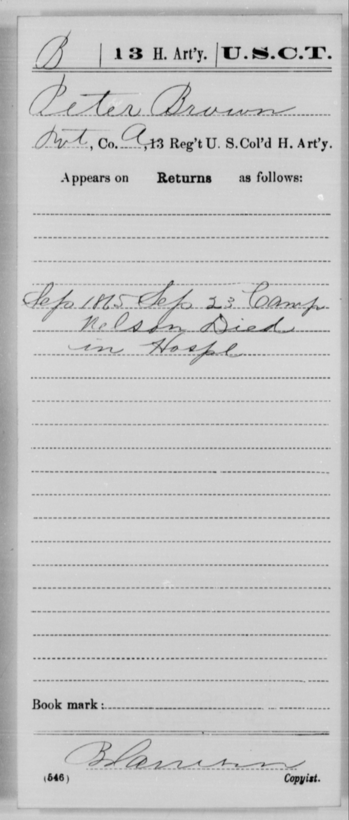 Brown, Peter - Age [Blank], Year: 1865 - 13th US Colored Heavy Artillery, Misc Cards - United States Colored Troops: Artillery Organizations