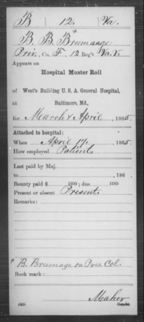 Brumaage, B B - Age [Blank], Year: 1865 - Miscellaneous Card Abstracts of Records - West Virginia