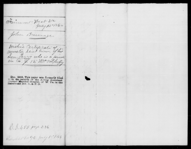 Brumage, John - Age [Blank], Year: 1864 - Personal Papers Arranged by Organizations - West Virginia