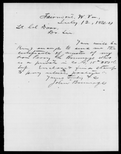 Brumage, Perry L - Age [Blank], Year: 1864 - Personal Papers Arranged by Organizations - West Virginia