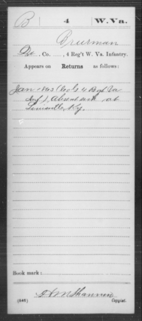 Brurman, [Blank] - Age [Blank], Year: 1863 - Miscellaneous Card Abstracts of Records - West Virginia