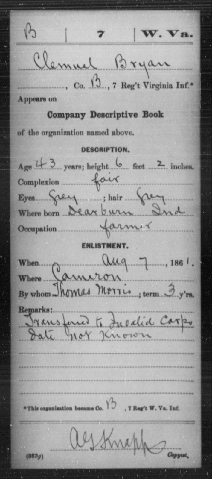 Bryan, Clemuel - Age 43, Year: 1861 - Miscellaneous Card Abstracts of Records - West Virginia