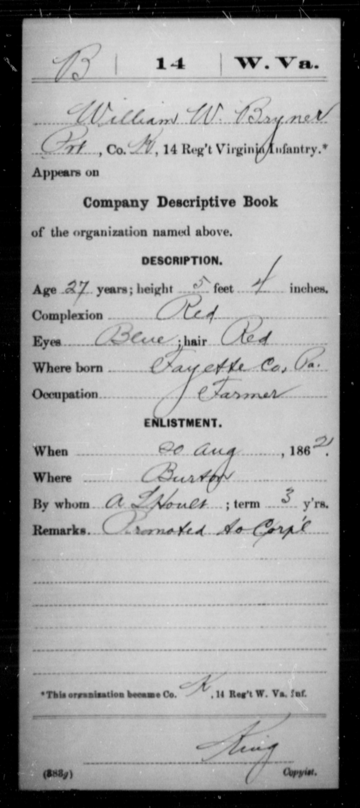 Bryner, William W - Age 27, Year: 1862 - Miscellaneous Card Abstracts of Records - West Virginia