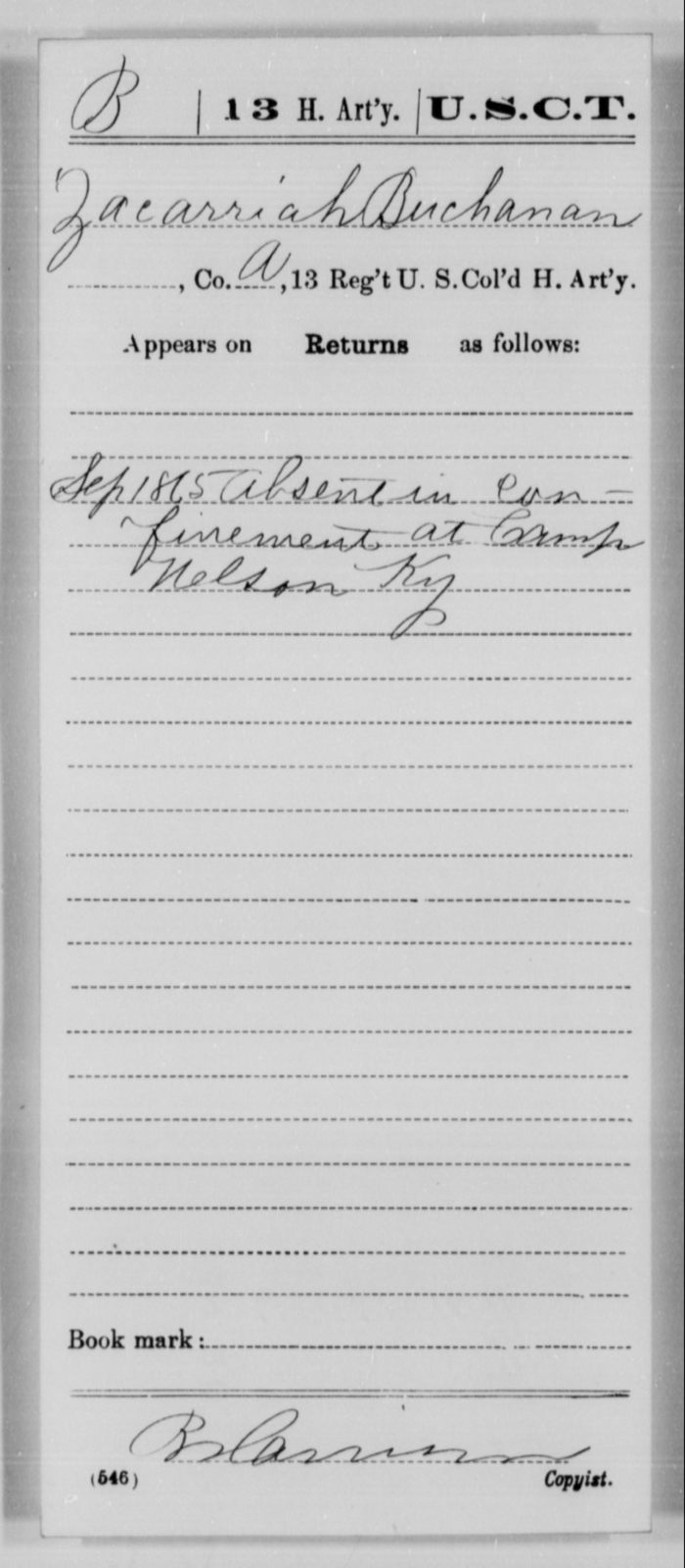 Buchanan, Zacarriah - Age [Blank], Year: 1865 - 13th US Colored Heavy Artillery, Misc Cards - United States Colored Troops: Artillery Organizations