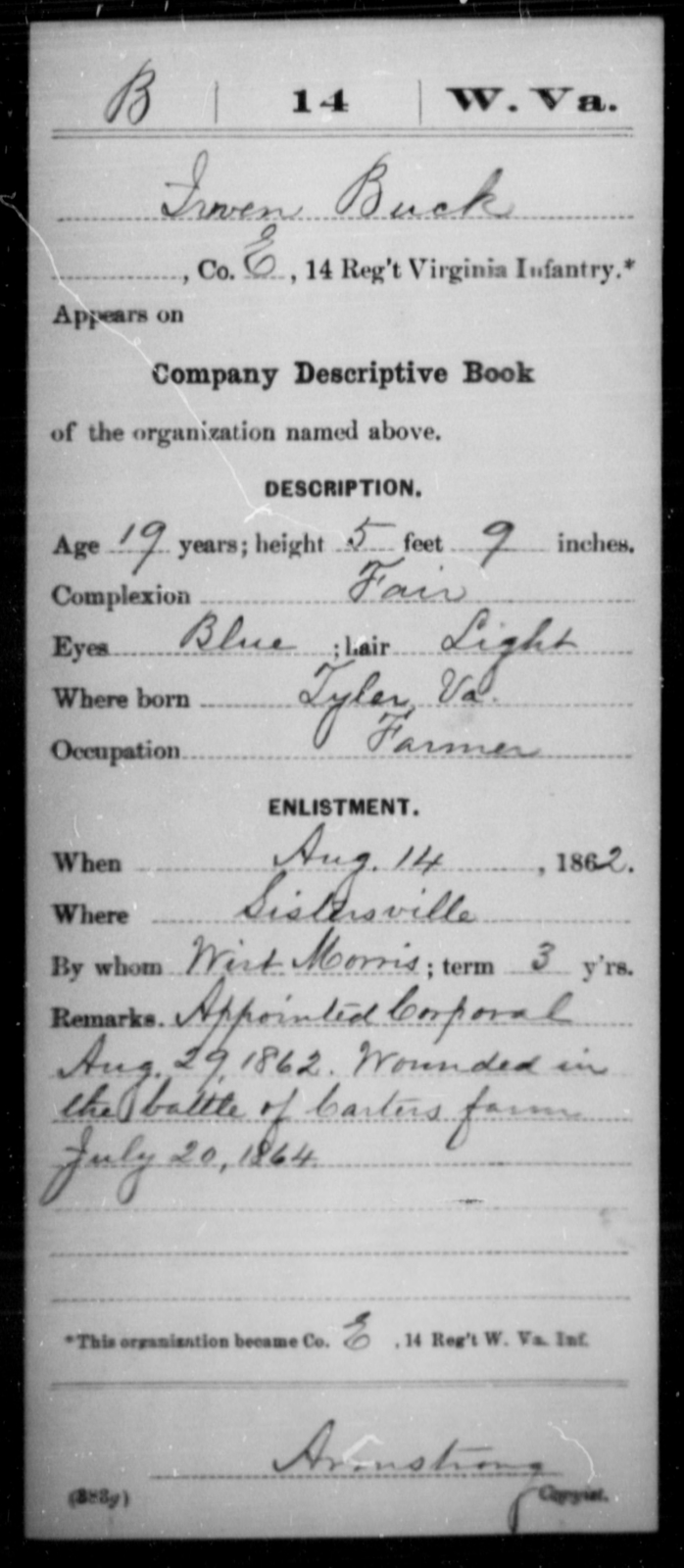 Buck, Irven - Age 19, Year: 1862 - Miscellaneous Card Abstracts of Records - West Virginia