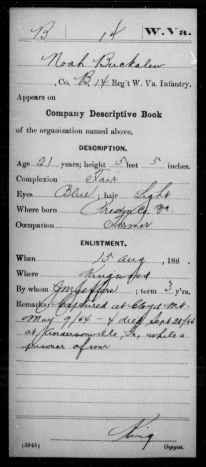 Buckalew, Noah - Age 21, Year: 1864 - Miscellaneous Card Abstracts of Records - West Virginia