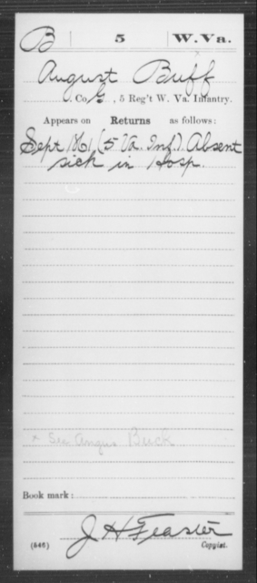 Buff, August - Age [Blank], Year: 1861 - Miscellaneous Card Abstracts of Records - West Virginia