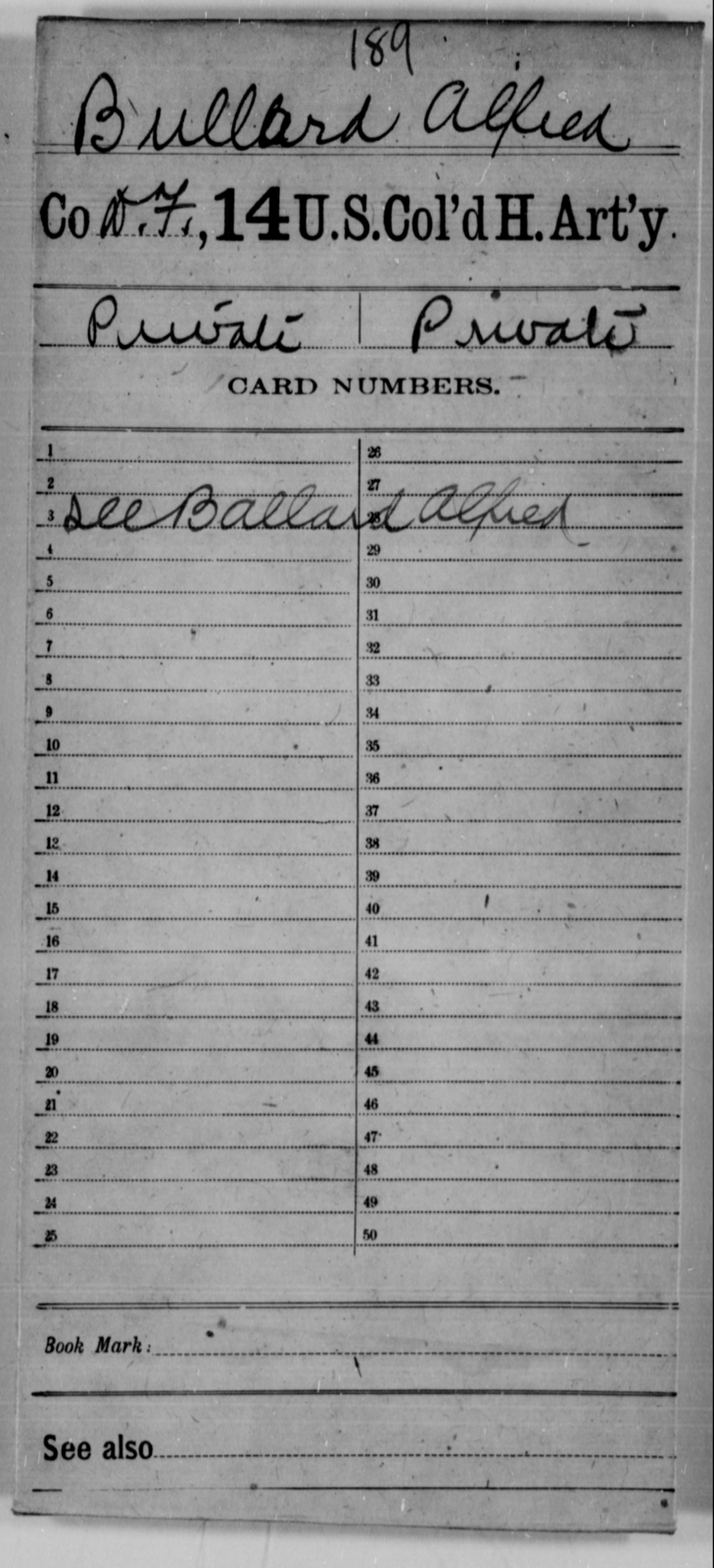 Bullard, Alfred - Age [Blank], Year: [Blank] - 14th US Colored Heavy Artillery - United States Colored Troops: Artillery Organizations