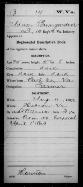 Bumgardner, Adam - Age 35, Year: 1862 - Miscellaneous Card Abstracts of Records - West Virginia