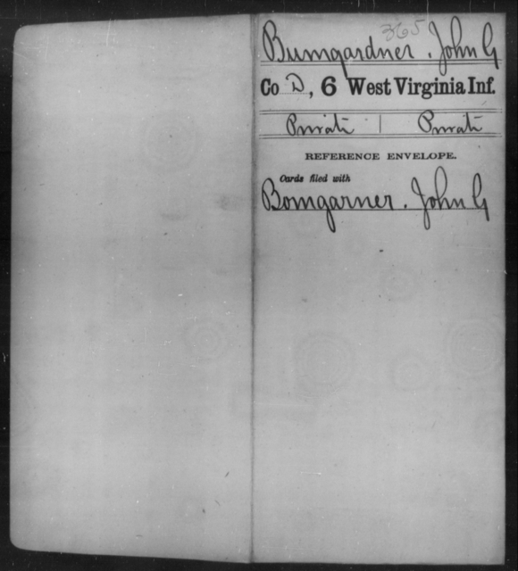 Bumgardner, John G - Age [Blank], Year: [Blank] - Sixth Infantry - West Virginia