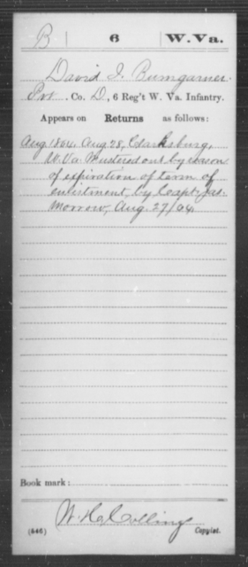 Bumgarner, David I - Age [Blank], Year: 1864 - Miscellaneous Card Abstracts of Records - West Virginia