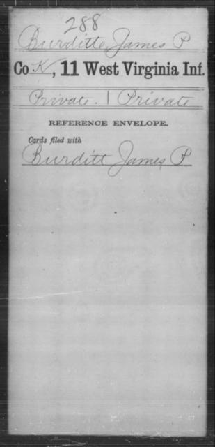 Burditte, James P - Age [Blank], Year: [Blank] - Eleventh Infantry - West Virginia