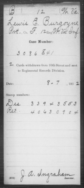 Burgoyne, Lewis E - Age [Blank], Year: [Blank] - Miscellaneous Card Abstracts of Records - West Virginia