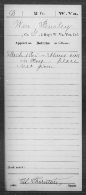 Burley, Wm - Age [Blank], Year: 1865 - Miscellaneous Card Abstracts of Records - West Virginia