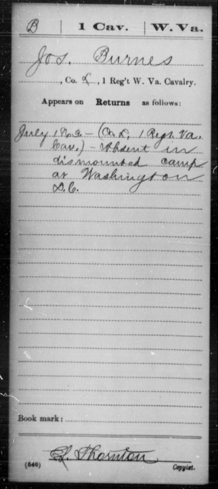 Burnes, Jos - Age [Blank], Year: 1863 - Miscellaneous Card Abstracts of Records - West Virginia