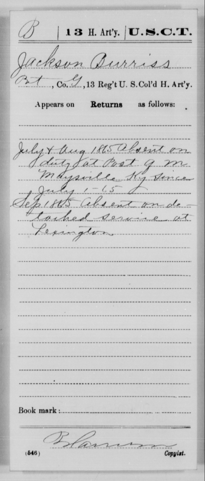 Burriss, Jackson - Age [Blank], Year: 1865 - 13th US Colored Heavy Artillery, Misc Cards - United States Colored Troops: Artillery Organizations