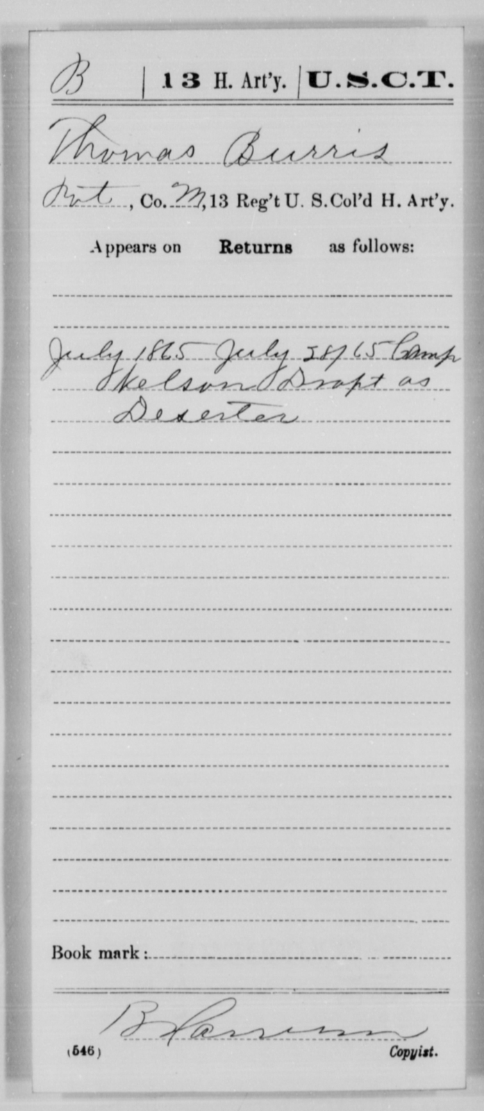 Burriss, Thomas - Age [Blank], Year: 1865 - 13th US Colored Heavy Artillery, Misc Cards - United States Colored Troops: Artillery Organizations