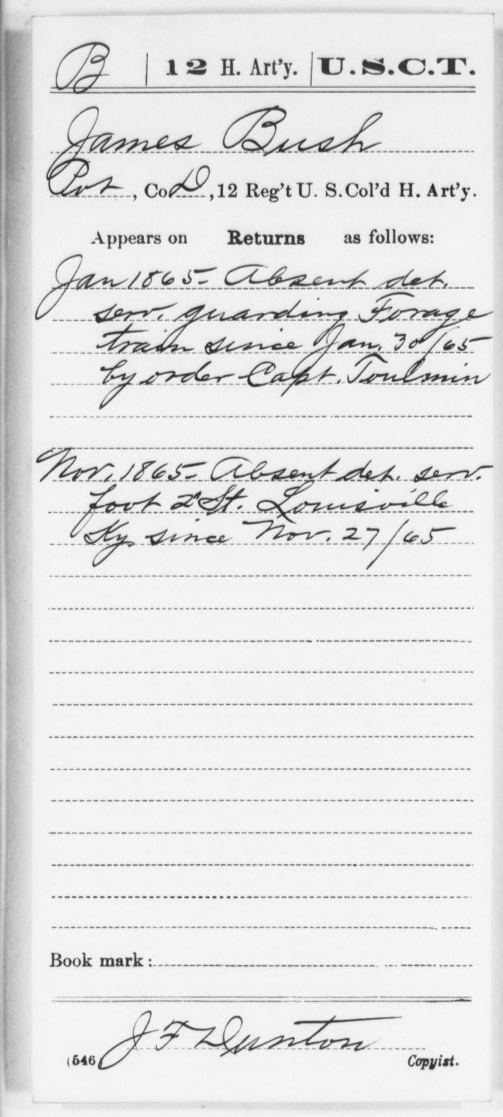 Bush, James - Age [Blank], Year: 1865 - 12th US Colored Heavy Artillery, Wo-Y AND Misc Cards, B-H - United States Colored Troops: Artillery Organizations