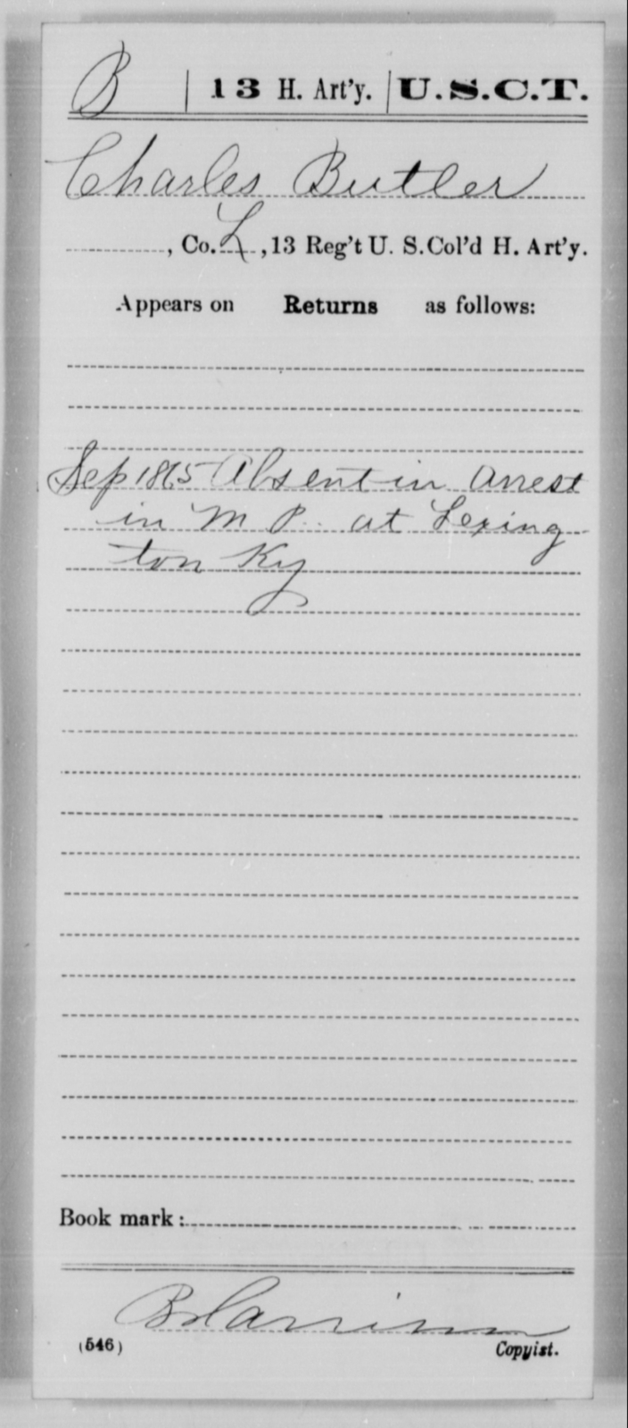 Butler, Charles - Age [Blank], Year: 1865 - 13th US Colored Heavy Artillery, Misc Cards - United States Colored Troops: Artillery Organizations