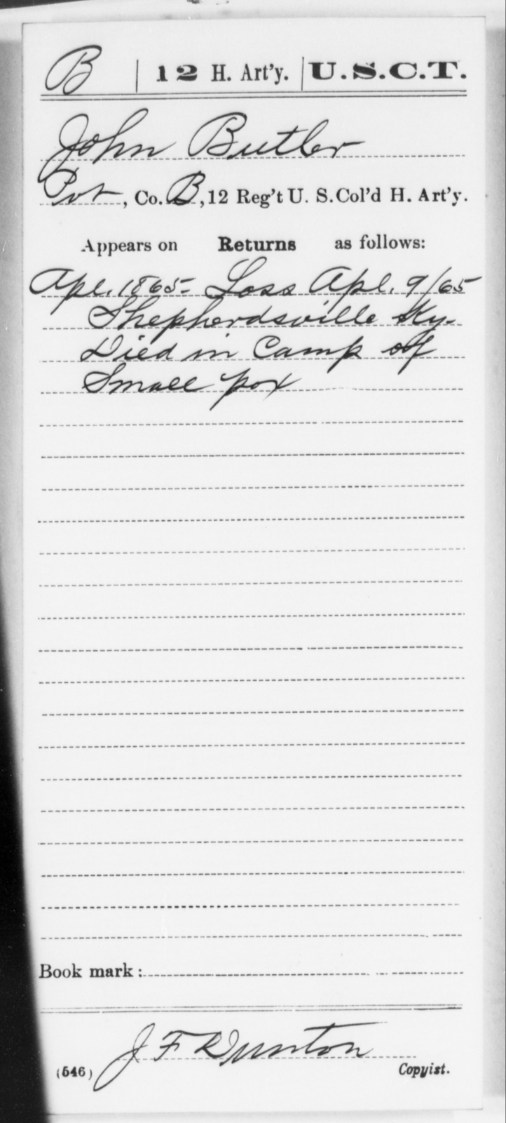 Butler, John - Age [Blank], Year: 1865 - 12th US Colored Heavy Artillery, Wo-Y AND Misc Cards, B-H - United States Colored Troops: Artillery Organizations