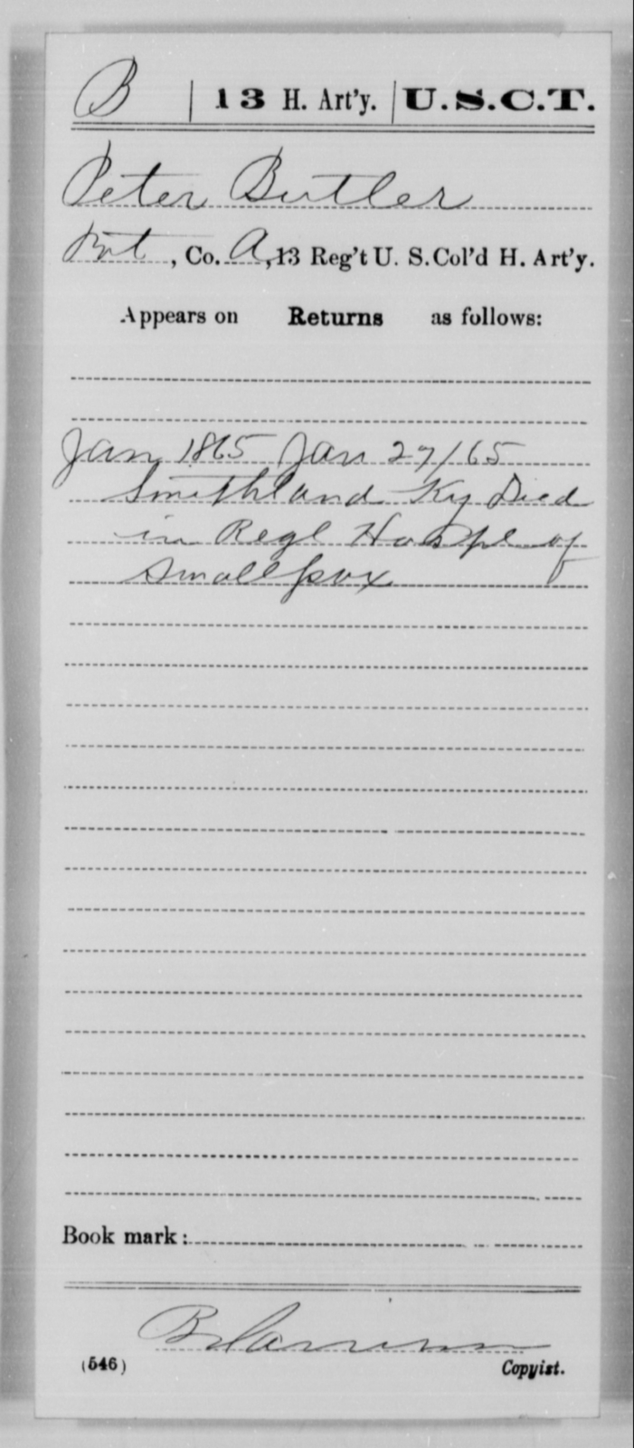 Butler, Peter - Age [Blank], Year: 1865 - 13th US Colored Heavy Artillery, Misc Cards - United States Colored Troops: Artillery Organizations