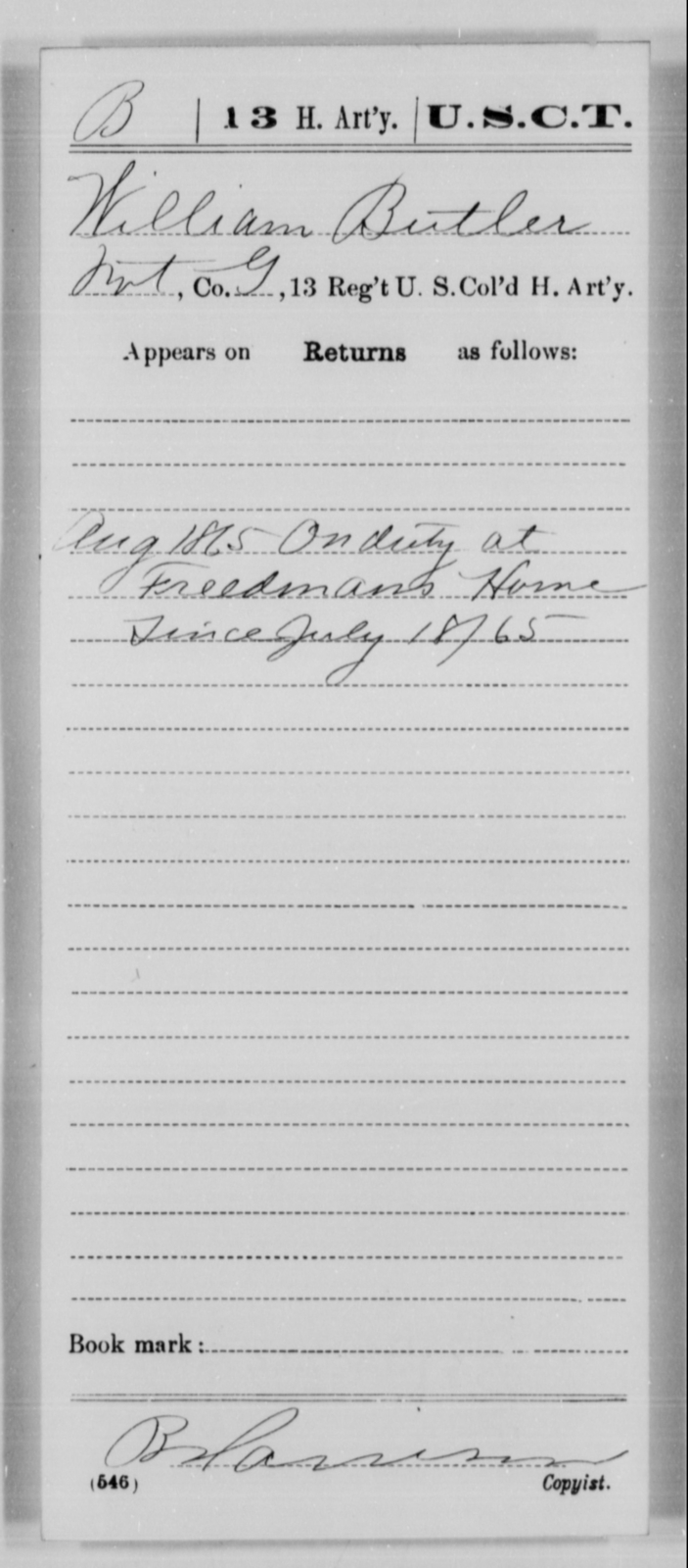 Butler, William - Age [Blank], Year: 1865 - 13th US Colored Heavy Artillery, Misc Cards - United States Colored Troops: Artillery Organizations