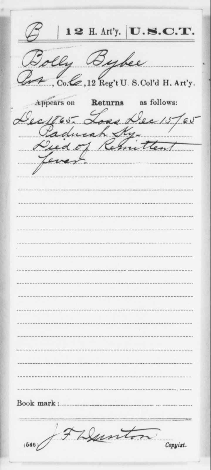 Byber, Bolly - Age [Blank], Year: 1865 - 12th US Colored Heavy Artillery, Wo-Y AND Misc Cards, B-H - United States Colored Troops: Artillery Organizations