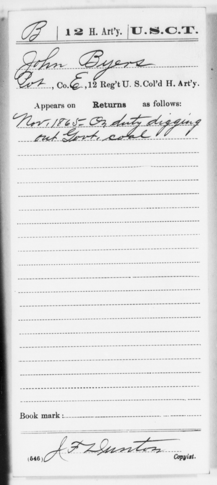 Byers, John - Age [Blank], Year: 1865 - 12th US Colored Heavy Artillery, Wo-Y AND Misc Cards, B-H - United States Colored Troops: Artillery Organizations