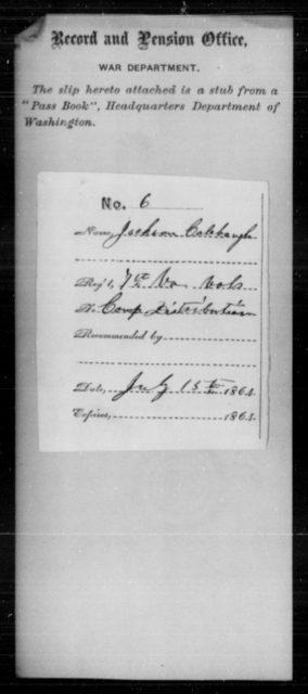 Calabaugh, Jackson - Age [Blank], Year: 1864 - Personal Papers Arranged by Organizations - West Virginia