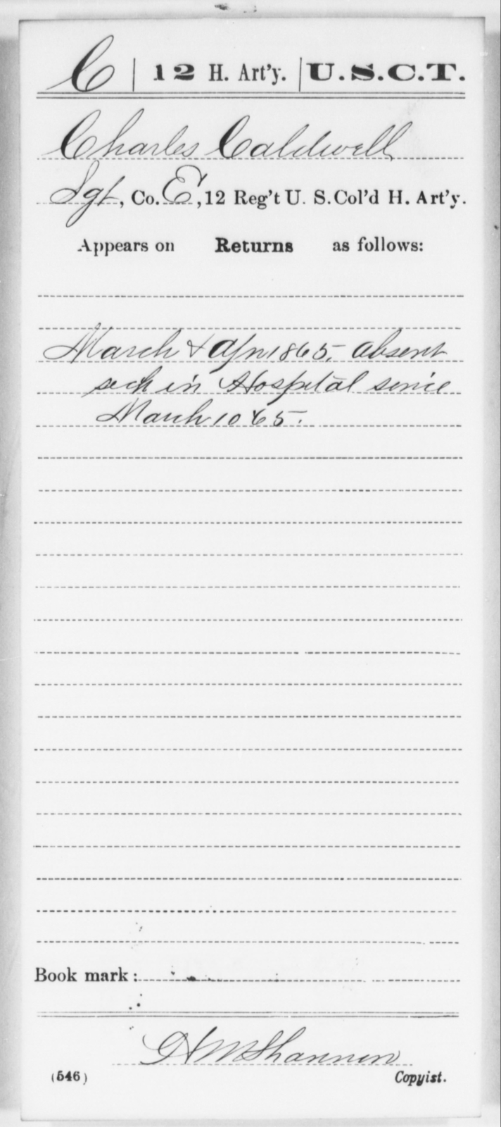 Caldwell, Charles - Age [Blank], Year: 1865 - 12th US Colored Heavy Artillery, Wo-Y AND Misc Cards, B-H - United States Colored Troops: Artillery Organizations