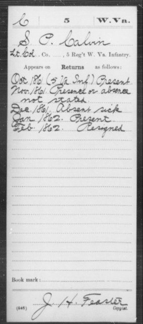 Calvin, S P - Age [Blank], Year: 1861 - Miscellaneous Card Abstracts of Records - West Virginia