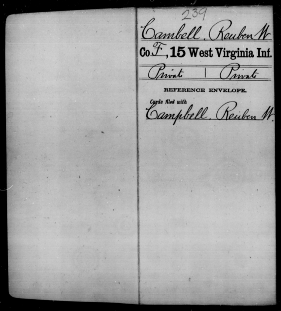 Cambell, Reuben W - Age [Blank], Year: [Blank] - Fifteenth Infantry - West Virginia