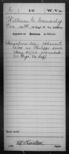 Canaday, William C - Age [Blank], Year: 1862 - Miscellaneous Card Abstracts of Records - West Virginia