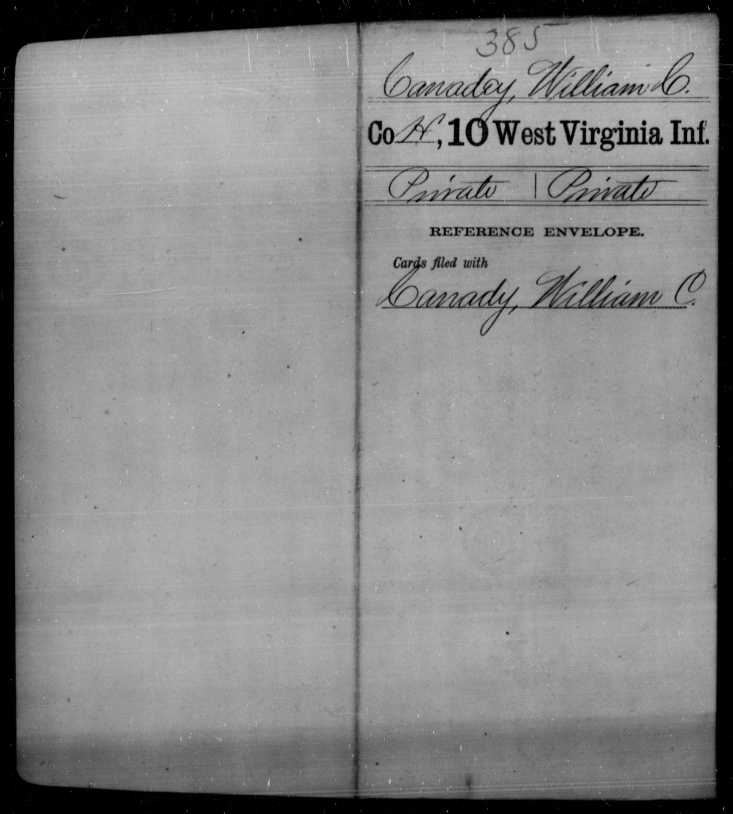 Canadey, William C - Age [Blank], Year: [Blank] - Tenth Infantry - West Virginia