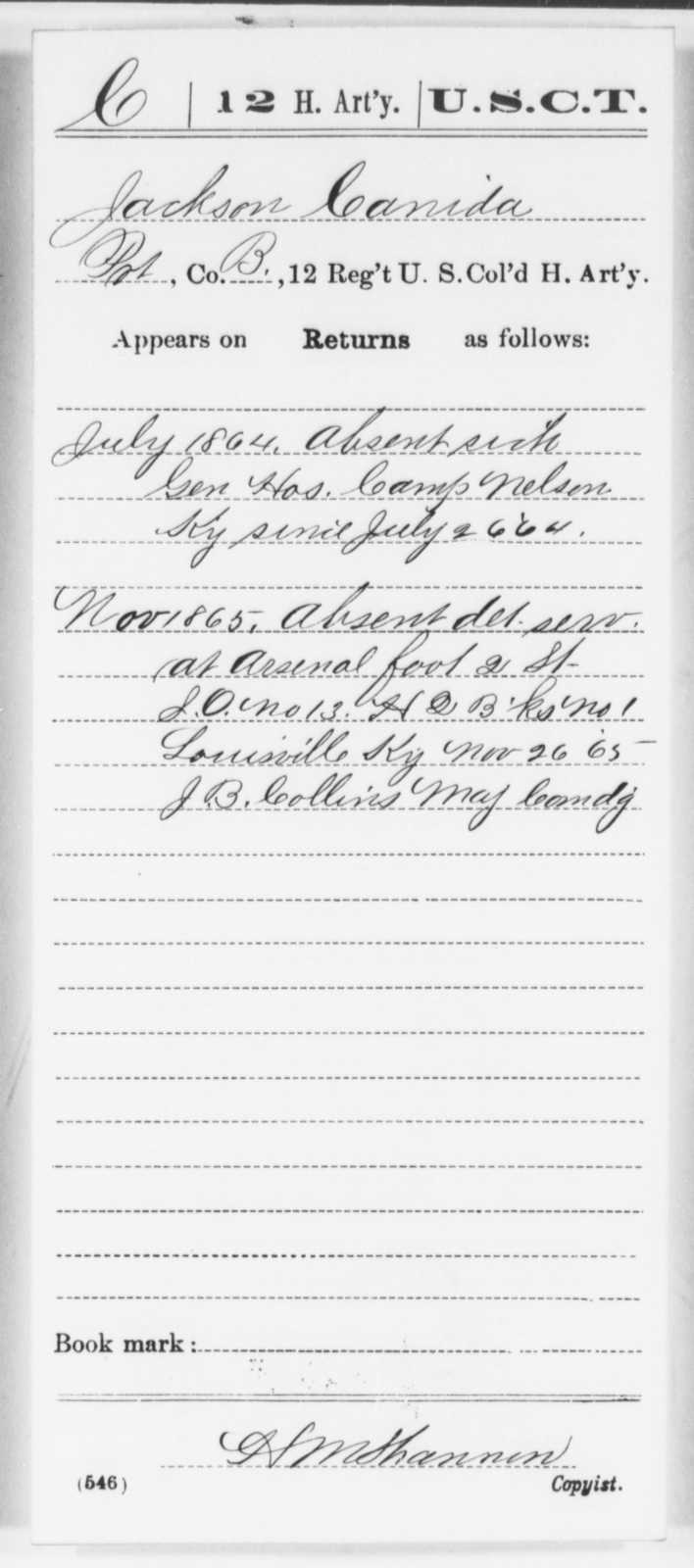 Canida, Jackson - Age [Blank], Year: 1864 - 12th US Colored Heavy Artillery, Wo-Y AND Misc Cards, B-H - United States Colored Troops: Artillery Organizations