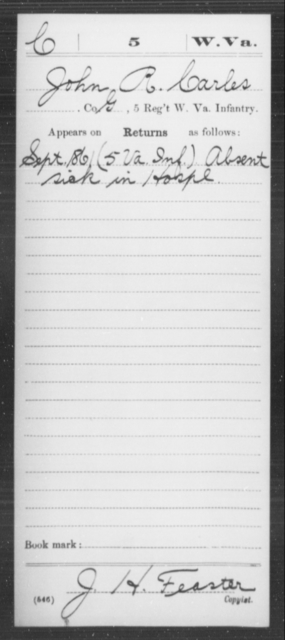Carles, John R - Age [Blank], Year: 1861 - Miscellaneous Card Abstracts of Records - West Virginia