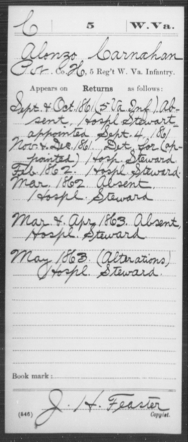 Carnahan, Alonzo - Age [Blank], Year: 1861 - Miscellaneous Card Abstracts of Records - West Virginia