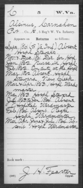 Carnahan, Alsinus - Age [Blank], Year: 1861 - Miscellaneous Card Abstracts of Records - West Virginia