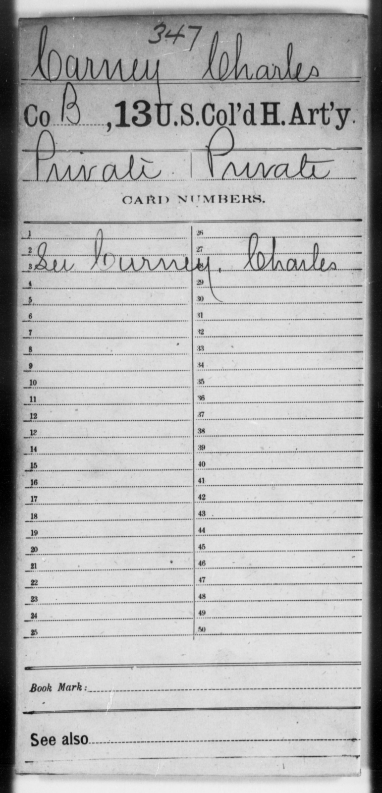 Carney, Charles - Age [Blank], Year: [Blank] - 13th US Colored Heavy Artillery - United States Colored Troops: Artillery Organizations