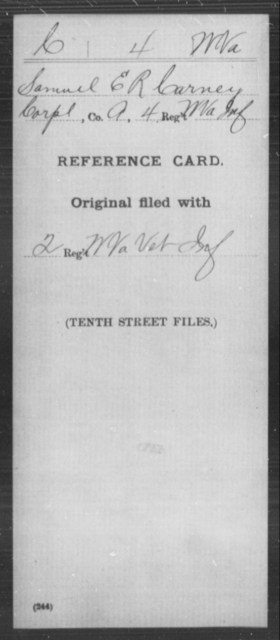 Carney, Samuel E - Age [Blank], Year: [Blank] - Miscellaneous Card Abstracts of Records - West Virginia