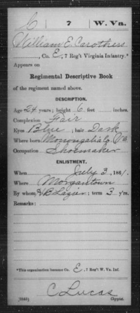 Carothers, William E - Age 24, Year: 1861 - Miscellaneous Card Abstracts of Records - West Virginia