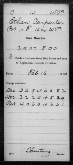 Carpenter, Ethan - Age [Blank], Year: [Blank] - Miscellaneous Card Abstracts of Records - West Virginia