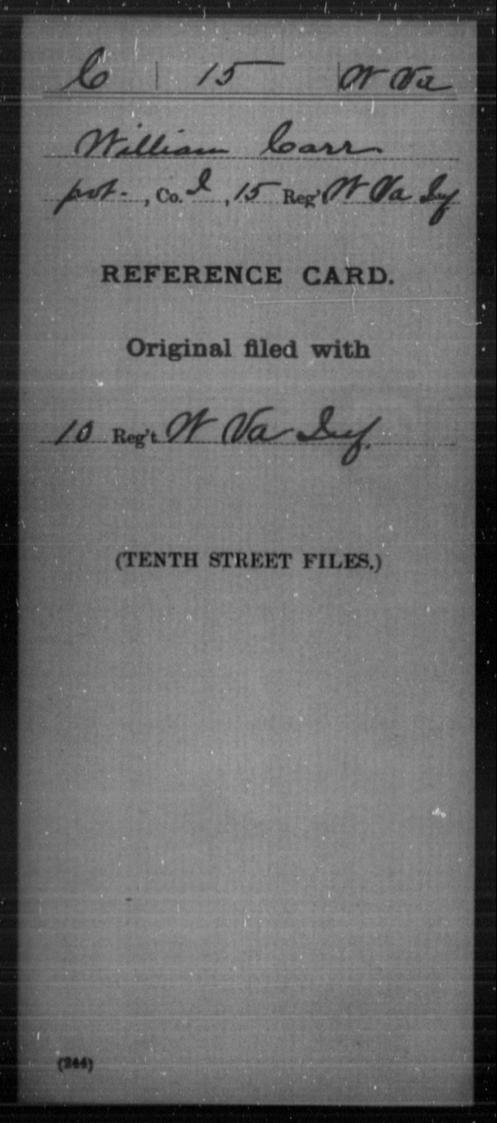 Carr, William - Age [Blank], Year: [Blank] - Miscellaneous Card Abstracts of Records - West Virginia