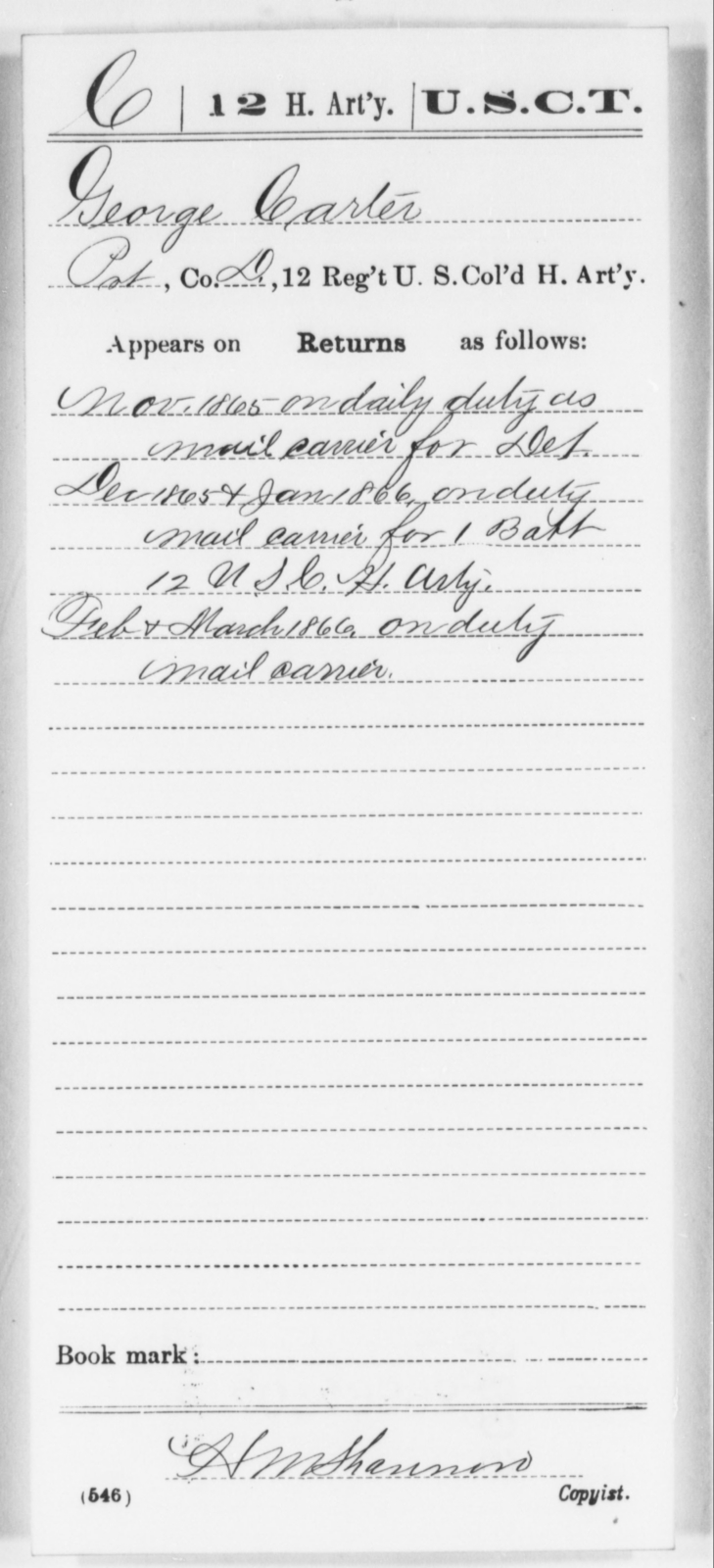 Carter, George - Age [Blank], Year: 1865 - 12th US Colored Heavy Artillery, Wo-Y AND Misc Cards, B-H - United States Colored Troops: Artillery Organizations