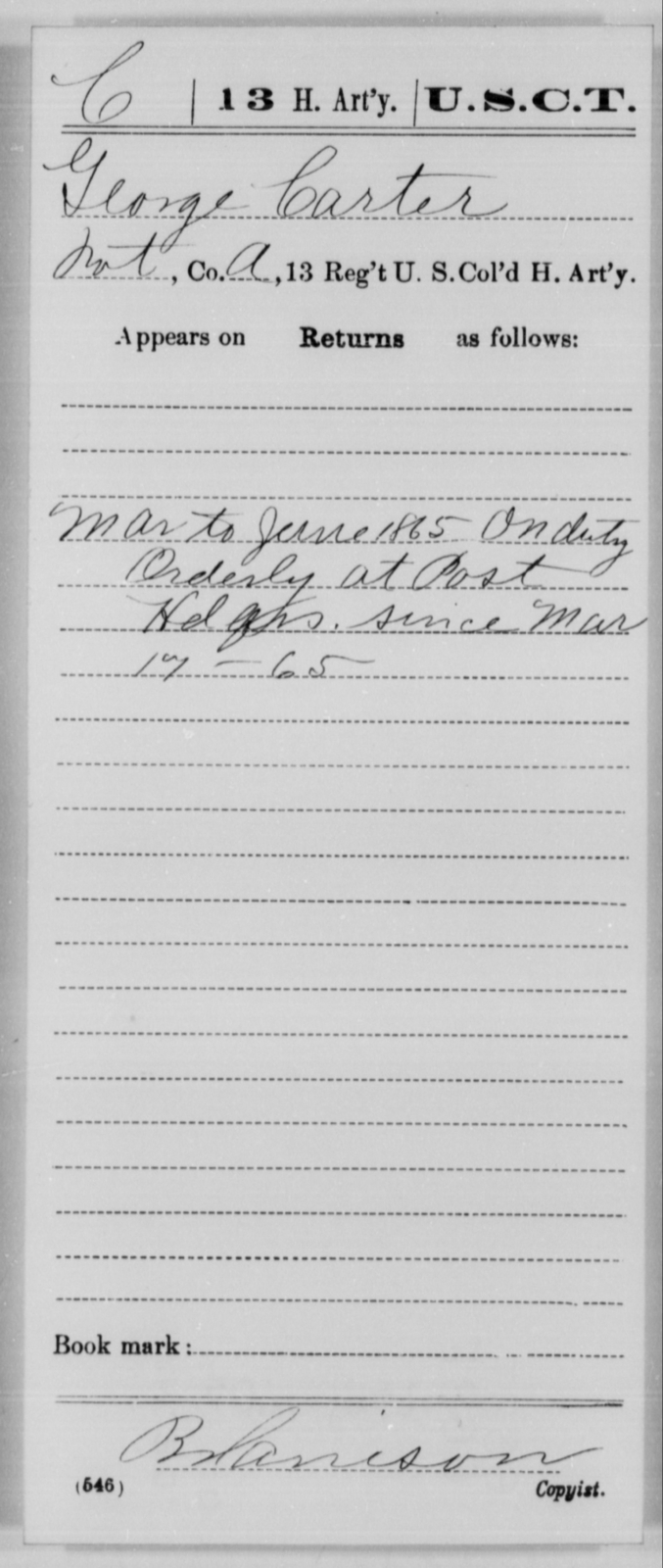 Carter, George - Age [Blank], Year: 1865 - 13th US Colored Heavy Artillery, Misc Cards - United States Colored Troops: Artillery Organizations