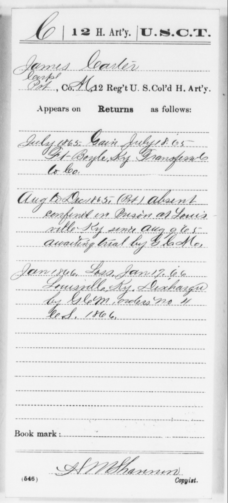 Carter, James - Age [Blank], Year: 1865 - 12th US Colored Heavy Artillery, Wo-Y AND Misc Cards, B-H - United States Colored Troops: Artillery Organizations