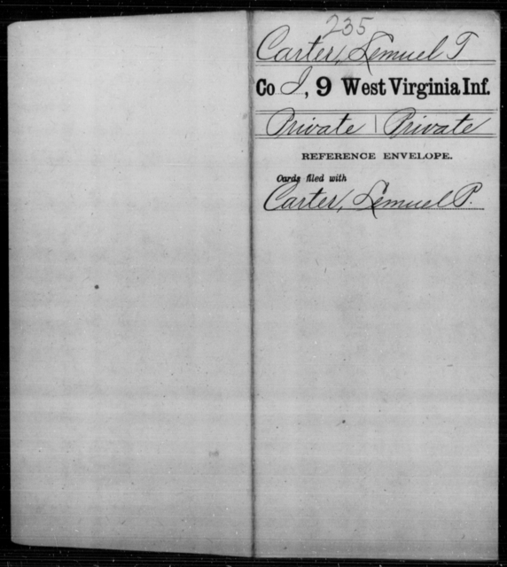 Carter, Lemuel T - Age [Blank], Year: [Blank] - Ninth Infantry - West Virginia