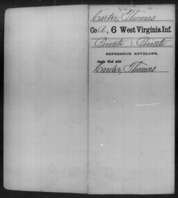 Carter, Thomas - Age [Blank], Year: [Blank] - Sixth Infantry - West Virginia